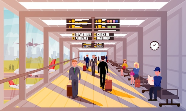 Busy people in airport lobby flat illustration.