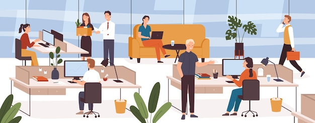 Busy people in office. company modern workplace interior with employees sitting tables and computers. scene with work process vector concept. female and male colleagues working in open space