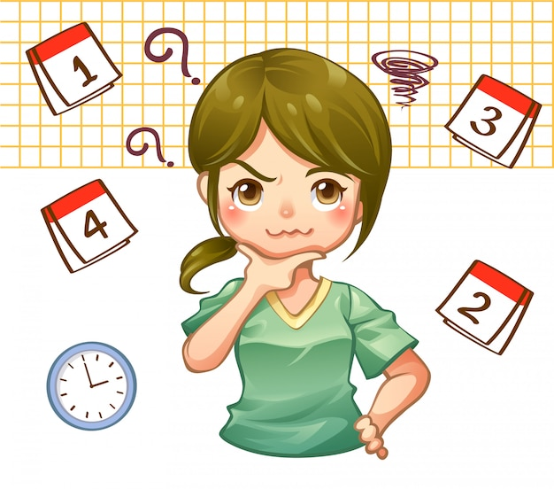 A busy plan work girl with schedule on calendar