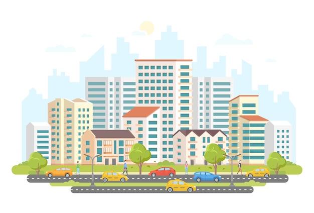 Оживленная уличная жизнь - современные красочные плоские векторные иллюстрации на белом фоне. жилой комплекс с небоскребами и небольшими домиками, деревья, машины и такси на дороге, много гуляющих людей.