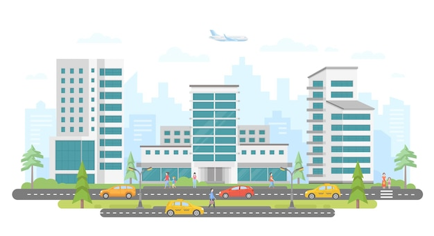 Оживленная улица - современные красочные плоские векторные иллюстрации на белом фоне. прекрасный жилой комплекс с небоскребами, деревьями, машинами и такси на дороге, много гуляющих людей, самолет в небе