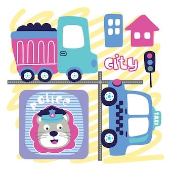 도시의 바쁜 거리 재미있는 동물 만화