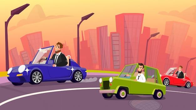 Оживленное движение на городской дороге и счастливые автовладельцы