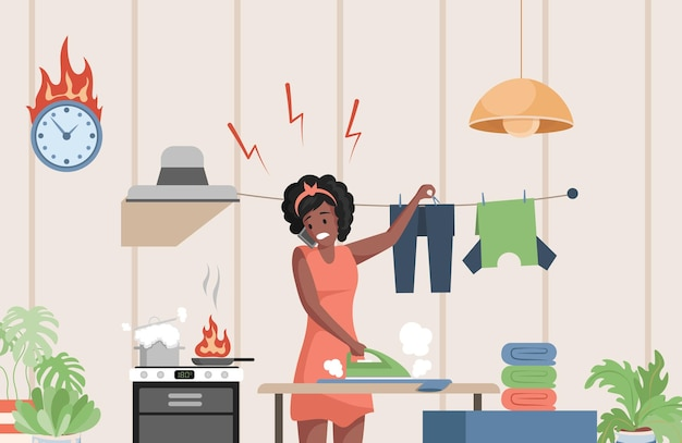 Busy woman in casual clothes doing domestic work illustration