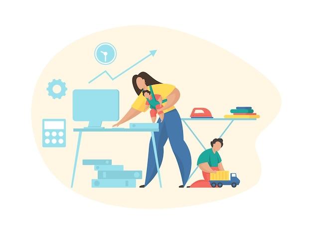 집에서 일하는 바쁜 여자. 일과 가정의 균형