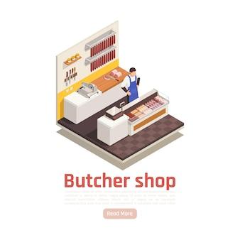 Мясник за прилавком в продуктовом магазине, продающий свежие полуфабрикаты, копченые вяленые колбасы, специи, изометрическая композиция