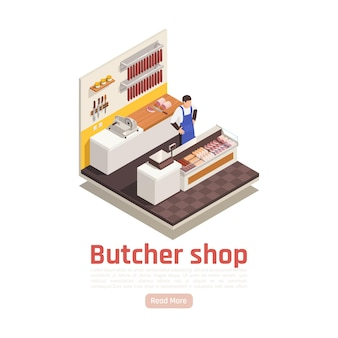 Butcher behind counter in grocery shop selling fresh precooked smoked cured sausages spices isometric composition