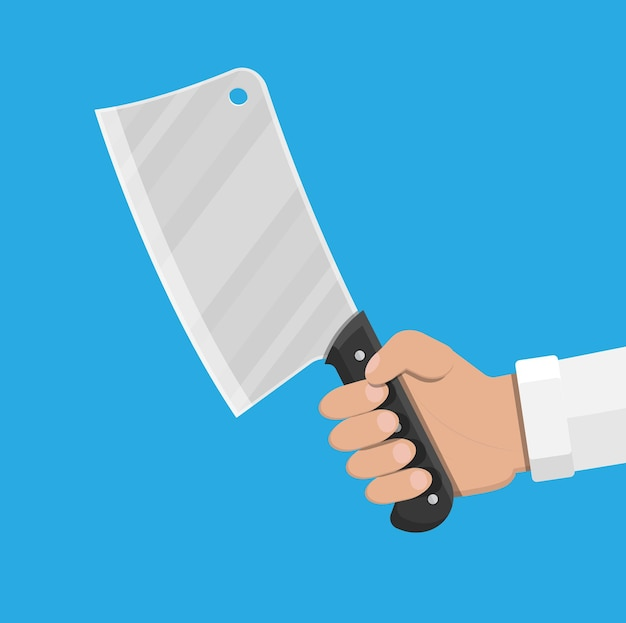 Butcher knife in hand. kitchen cleaver knife for meat. vector illustration in flat style.