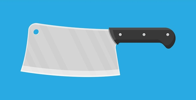 Butcher knife. kitchen cleaver knife for meat. vector illustration in flat style.