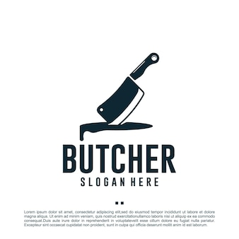 Мясник, нож, шаблон дизайна логотипа