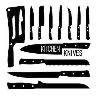 ブッチャーナイフのシルエット。肉屋のシェフのナイフのシルエットセットは白、牛肉で調理された金属製の道具の種類、調理キッチンの鋼の黒いアイコン