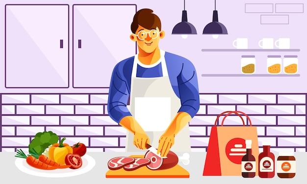 キッチンの肉屋の肉