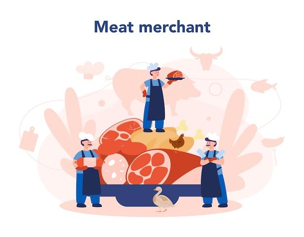 Butcher or meatman concept