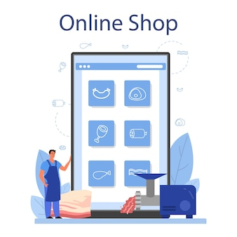 Butcher or meatman online service or platform. fresh meat and meat products with ham and sausages, beef and pork. online shop. isolated vector illustration