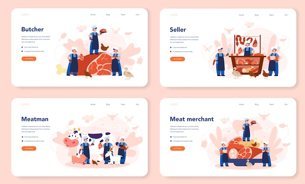 Butcher or meatman web landing page set. fresh meat and meat products with ham and sausages, beef and pork. isolated vector illustration