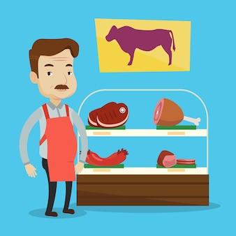 Мясник, предлагая свежее мясо в мясной лавке.