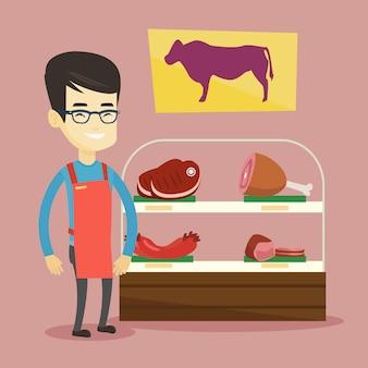 肉屋は肉屋で新鮮な肉を提供しています。