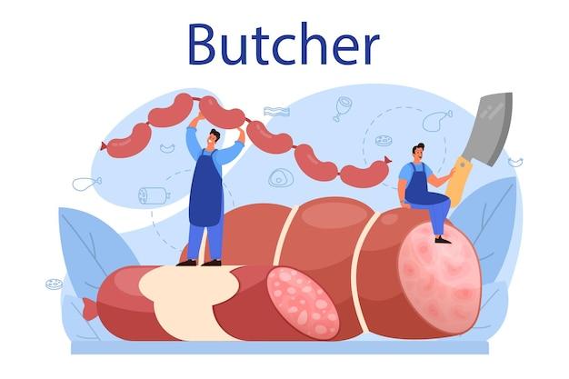 정육점 또는 미트 맨 개념. 햄과 소시지, 소고기와 돼지 고기가 들어간 신선한 육류 및 육류 제품. 육류 시장 노동자. 격리 된 벡터 일러스트 레이 션