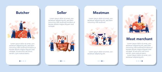 정육점 또는 미트 맨 모바일 응용 프로그램 배너 세트. 햄과 소시지, 소고기와 돼지 고기를 곁들인 신선한 육류 및 육류 제품입니다.