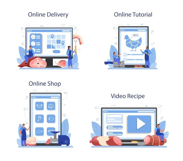 정육점 또는 미트 맨 온라인 서비스 또는 플랫폼 세트.