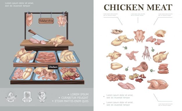 肉屋の店カラフルな組成の鶏の足、翼、腿、足、胸、首、切り身、ハム、肝臓、心臓、カウンター