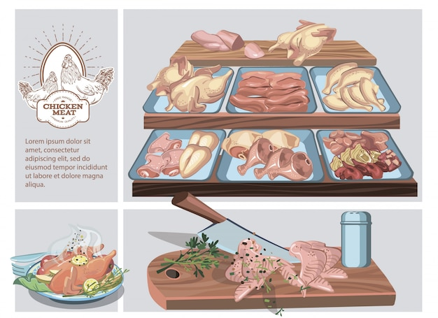 Butcher shop composition with different chicken meat parts on counter and roasted chicken on plate