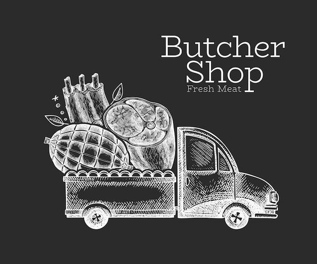 정육점 배달. 고기 일러스트와 함께 손으로 그려진 된 트럭입니다. 새겨진 스타일 복고풍 음식 디자인.
