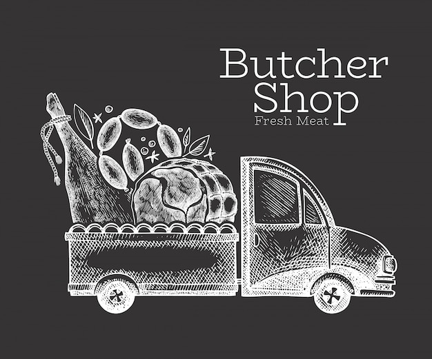 Butcher shop delivery logo. hand drawn truck with meat illustration. engraved style retro food design.