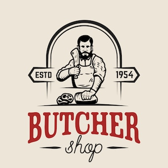 Butcher shop.  element for logo, label, emblem, sign, poster.  illustration