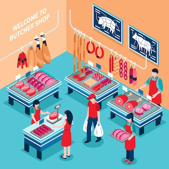 Butcher shop inside isometric illustration