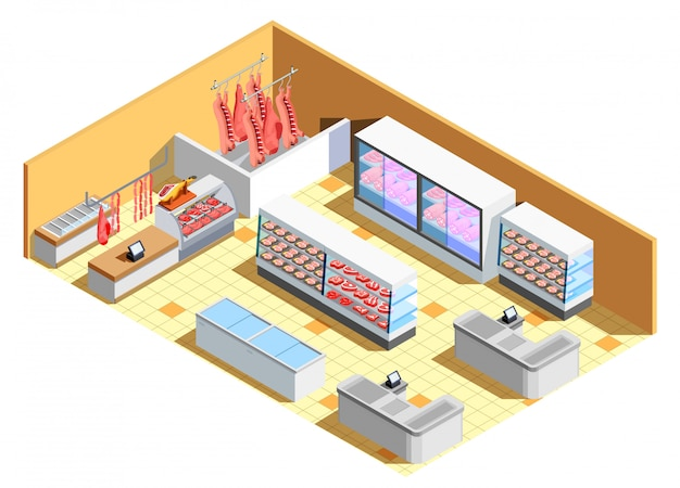 Butcher shop interior isometric scene