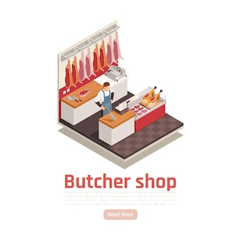 Butcher shop isometric composition with hanging meat display steaks sliced beef scale ham on counter