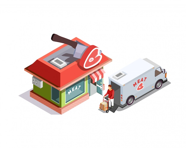 Butcher shop isometric scene