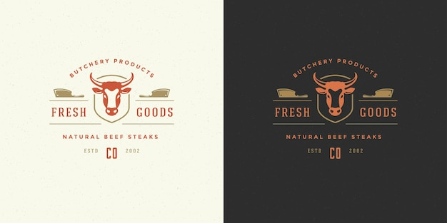 Butcher shop logo illustration cow head silhouette good for farm or restaurant badge
