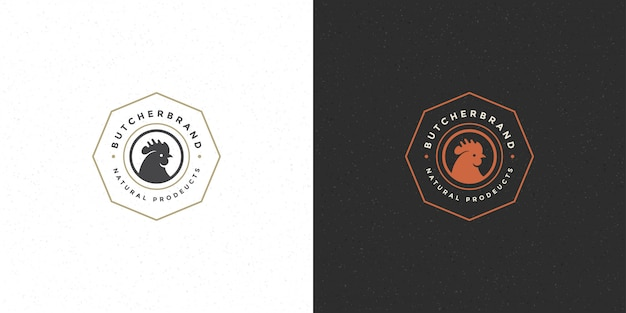Логотип мясного магазина, силуэт головы петуха, подходящий для значка птицефабрики или ресторана