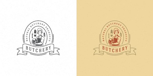 Butcher shop logo vector illustration chef holding meat silhouette good for farmer or restaurant badge