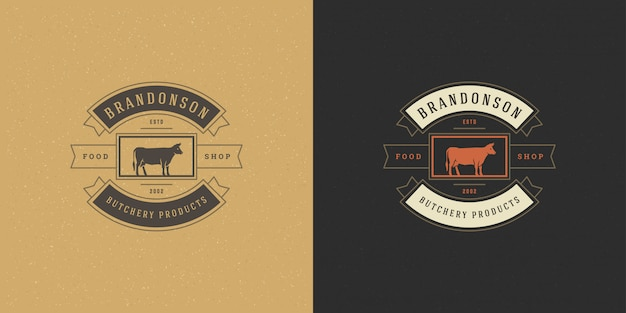 Butcher shop logo vector illustration head silhouette for farm or restaurant badge