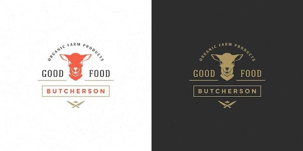Мясной магазин логотип векторные иллюстрации силуэт головы ягненка хорошо для фермы или ресторана значок. винтажный дизайн эмблемы типографии.