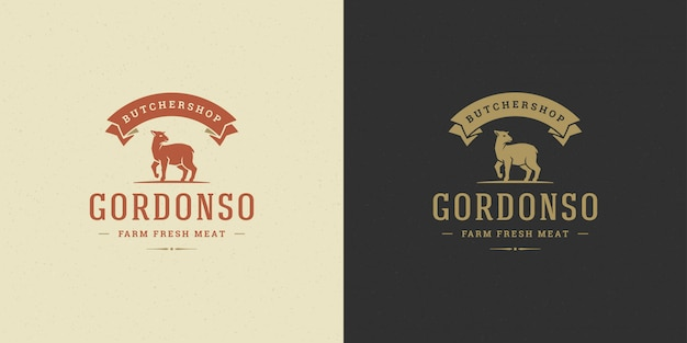 Butcher shop logo vector illustration lamb silhouette good for farm or restaurant badge