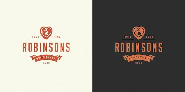 Мясной магазин логотип векторные иллюстрации силуэт стейка мяса хороший для фермы или значок ресторана. винтажный дизайн эмблемы типографии.