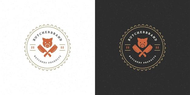 Мясной магазин логотип векторные иллюстрации силуэт головы свиньи хорошо для фермы или ресторана значок. винтажный дизайн эмблемы типографии.