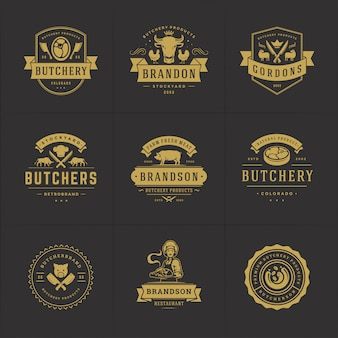 Butcher shop logos set   good for farm or restaurant badges with animals and meat silhouettes