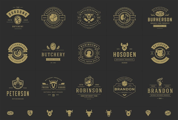 Butcher shop logos set  good for farm or restaurant badges with animals and meat