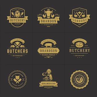 Логотипы мясного магазина подходят для значков фермы или ресторана с силуэтами животных и мяса