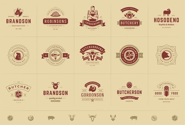肉屋のロゴが動物や肉のシルエットのある農場やレストランのバッジにぴったり