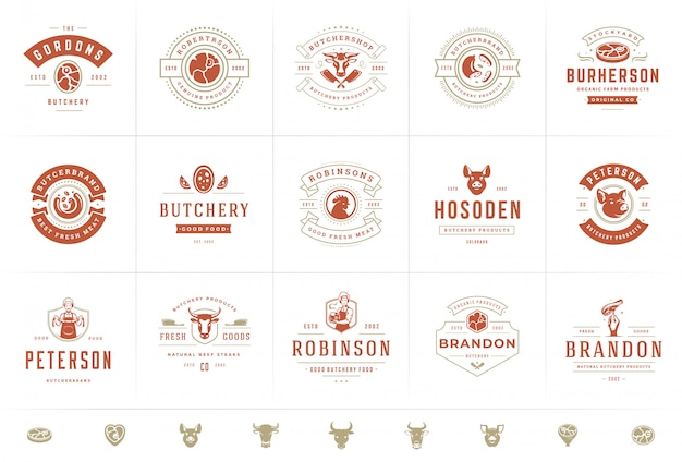 정육점 로고는 동물과 고기 실루엣이있는 농장 또는 레스토랑 배지에 적합합니다.