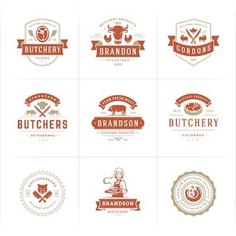 정육점 로고는 동물과 고기가 들어간 농장 또는 레스토랑 배지에 적합합니다.