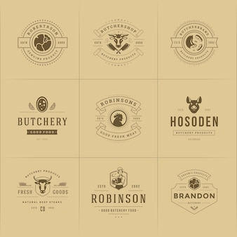 Butcher shop logos set illustration set