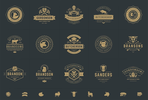 Butcher shop logos set illustrations