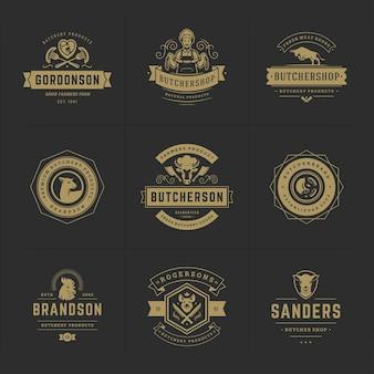 Логотипы мясного магазина устанавливают векторные иллюстрации, подходящие для значков фермы или ресторана с силуэтами животных и мяса. дизайн эмблем ретро типографии.